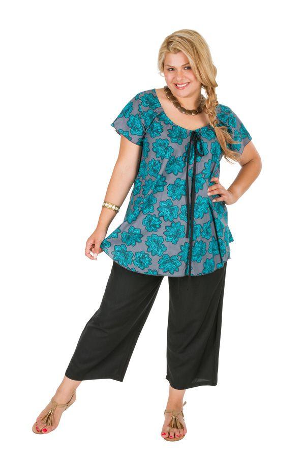 Tunique femme grande taille à col rond sans manche Marie