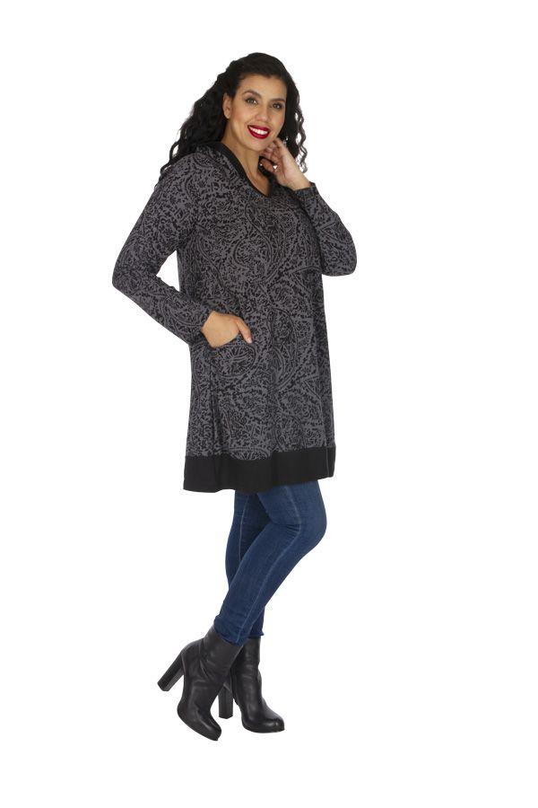 Tunique femme grande taille ample et originale Kanye grise 313604