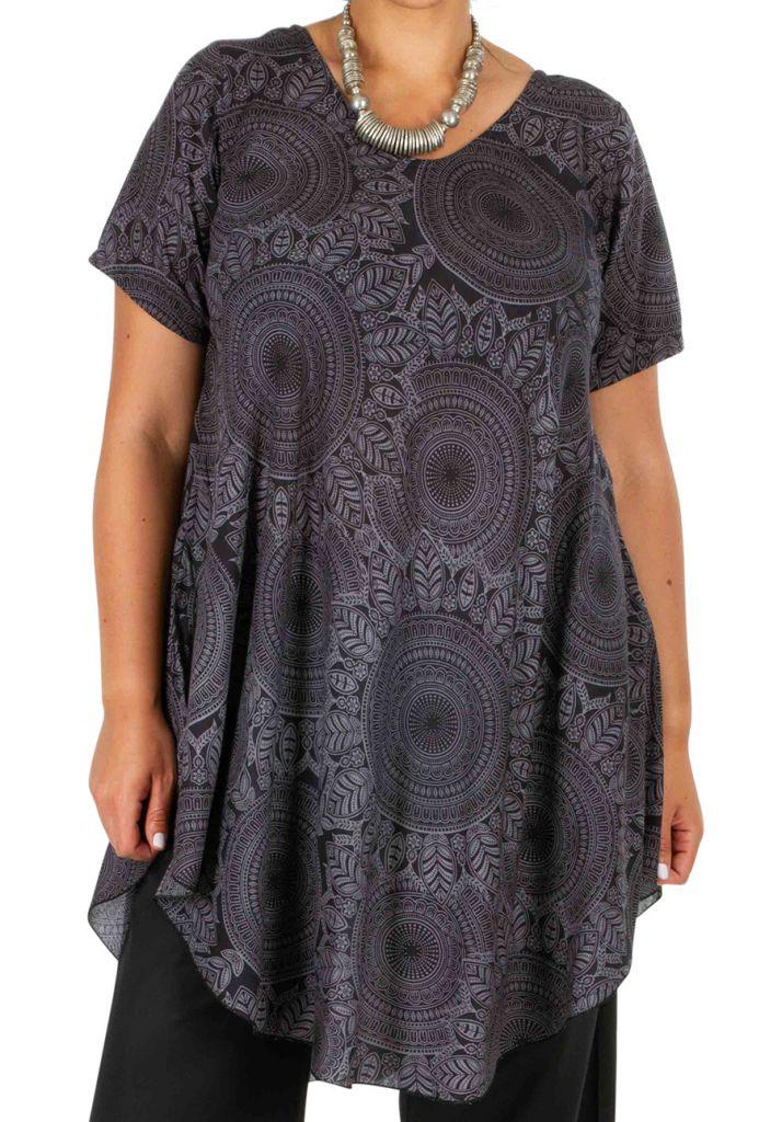 Tunique femme grande taille avec un imprimé de rosaces Rinah 306454