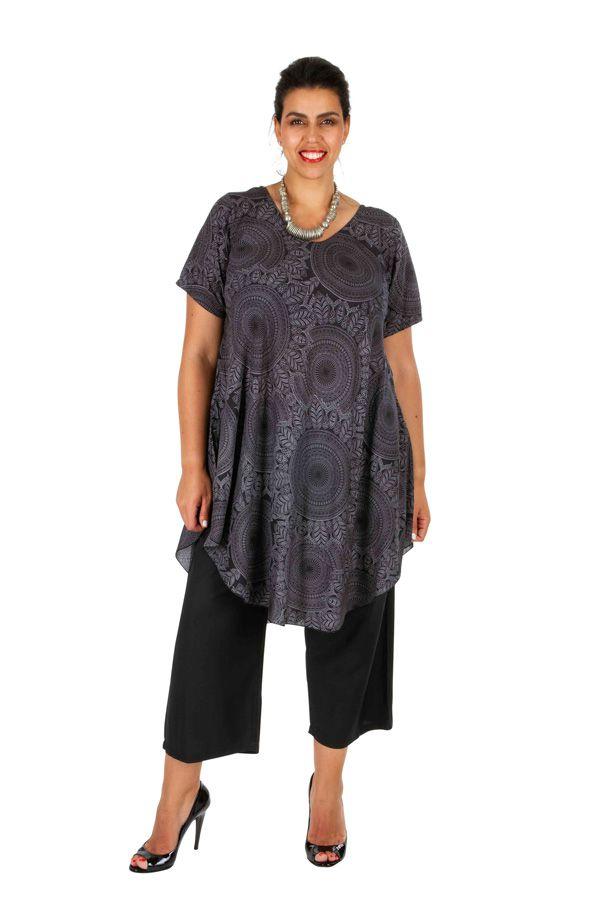 Tunique femme grande taille avec un imprimé de rosaces Rinah 306455