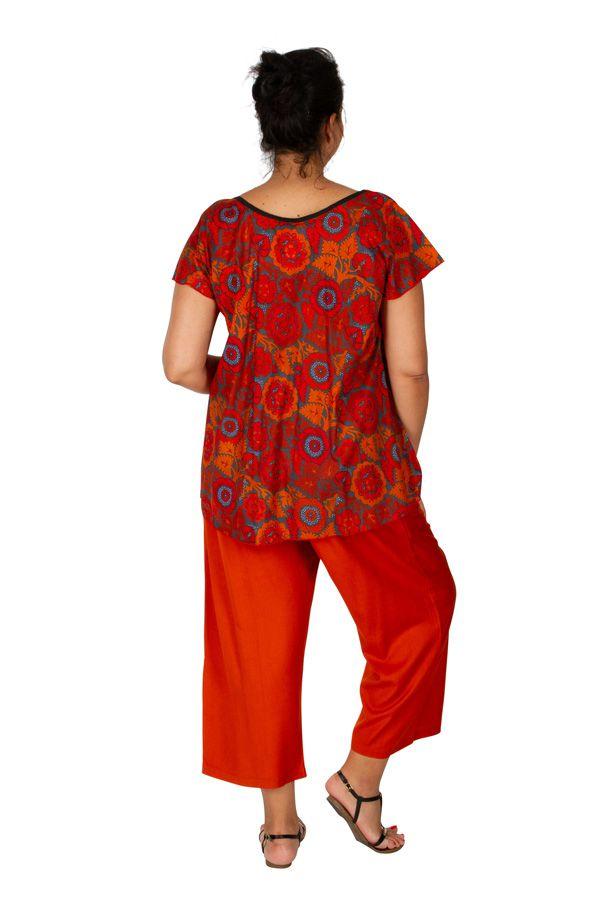 Tunique femme grande taille avec un imprimé orange Patricia