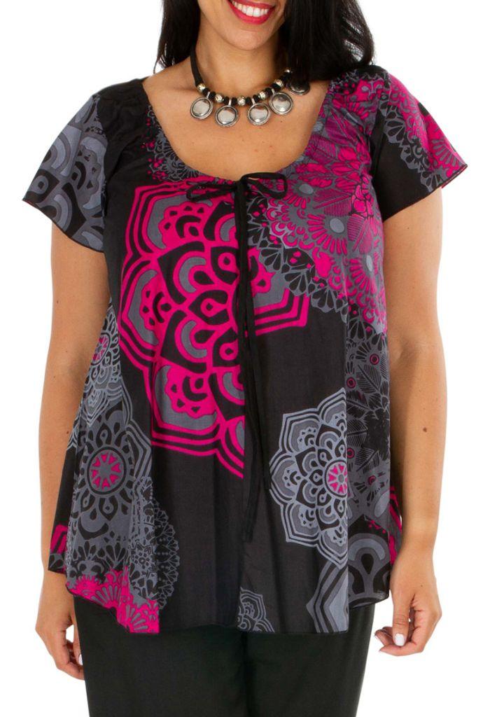Tunique femme grande taille casual à col rond en coton Morgana 306418