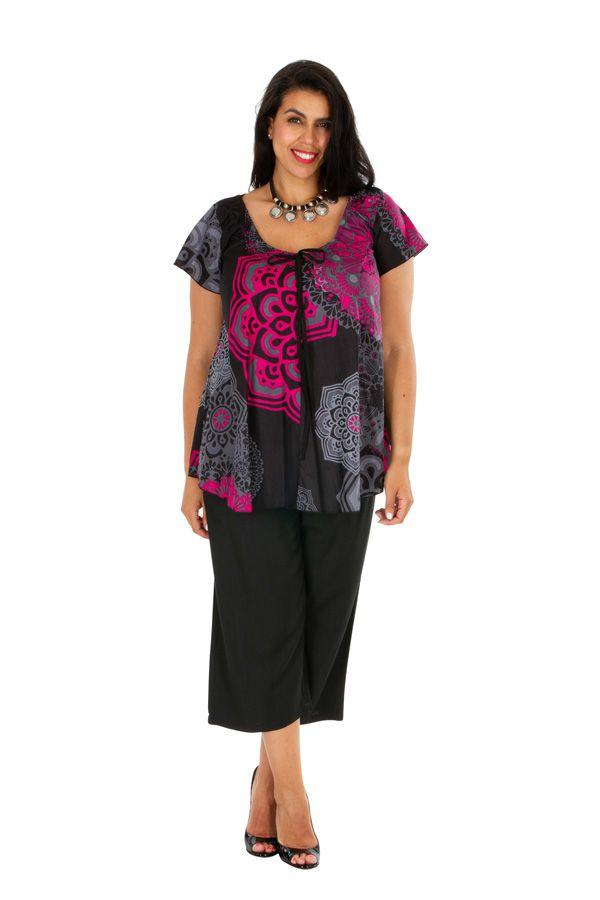 Tunique femme grande taille casual à col rond en coton Morgana 306419