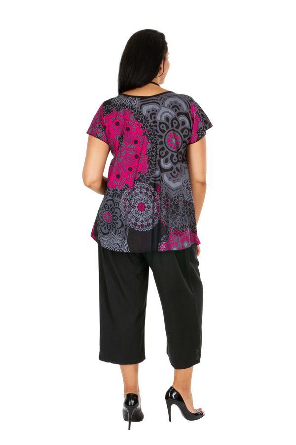 Tunique femme grande taille casual à col rond en coton Morgana 306420