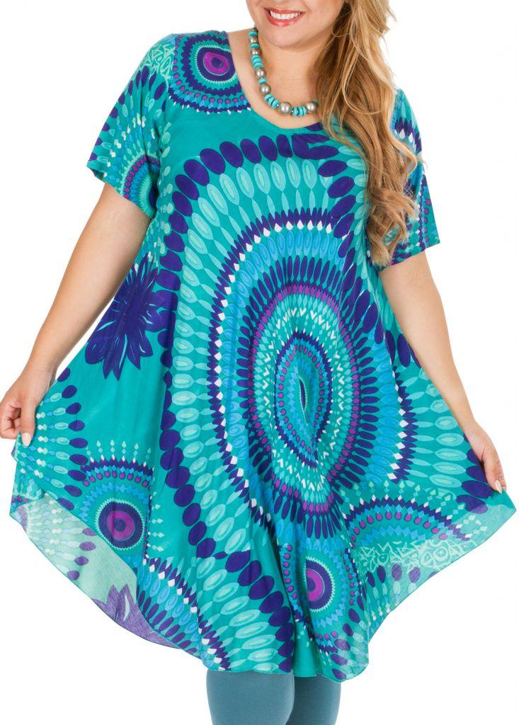 Tunique femme grande taille de plage bleu ciel Aelia