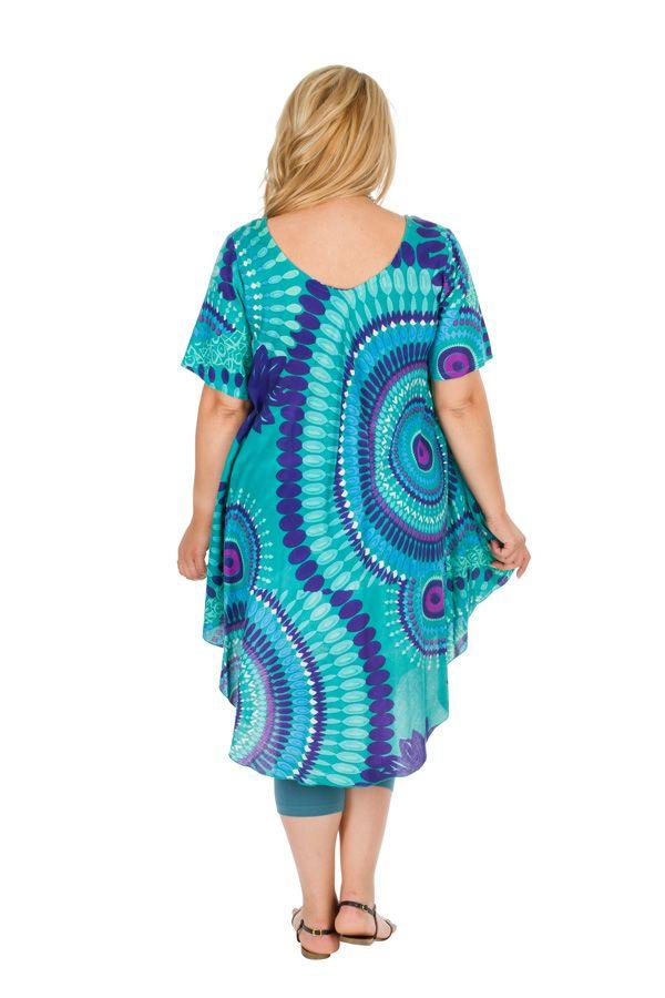 Tunique femme grande taille de plage bleu ciel Aelia 306450