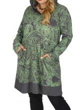 Tunique femme grande taille imprimée paisleys Kanye verte 313606