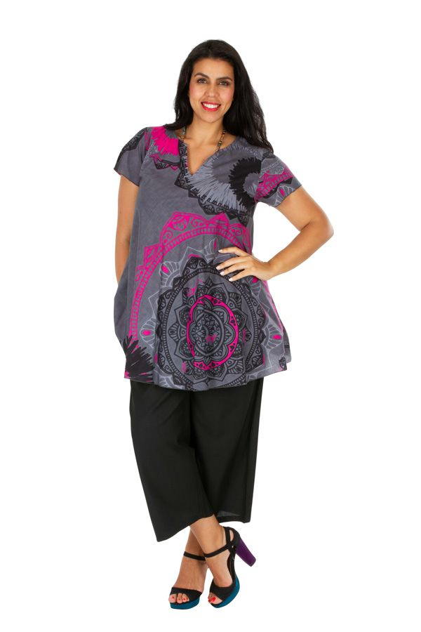 Tunique femme grande taille look casual grise et rose Alexanne 306361
