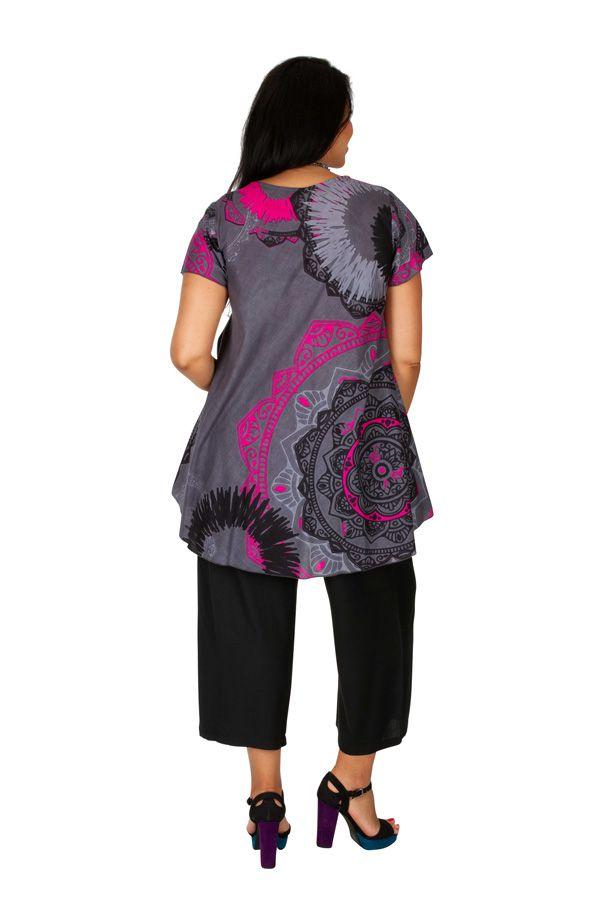 Tunique femme grande taille look casual grise et rose Alexanne 306362