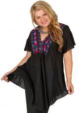 Tunique femme grande taille noire avec broderies Noella 309762