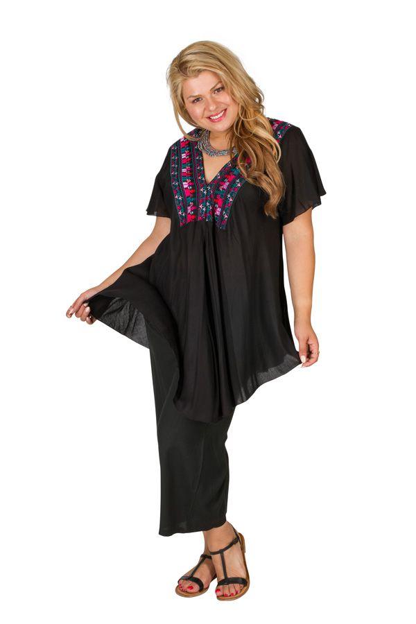 Tunique femme grande taille noire avec broderies Noella 309763