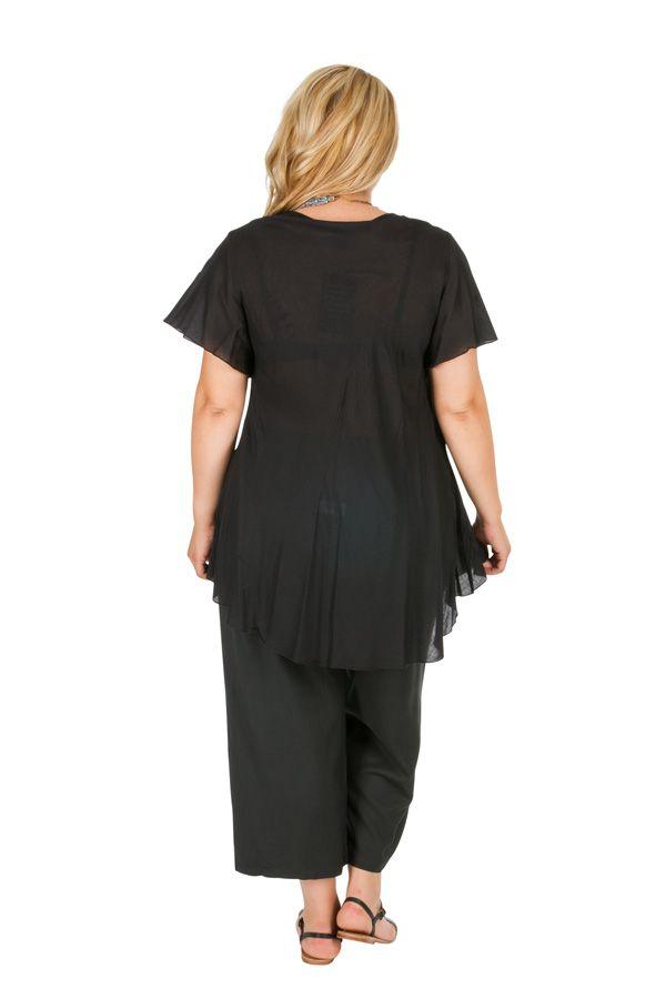 Tunique femme grande taille noire avec broderies Noella 309764