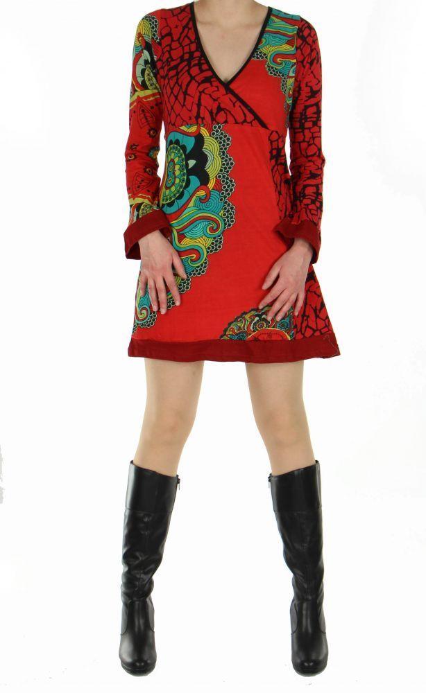 Tunique femme imprimée nubik rouge 248770