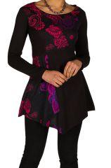 Tunique femme manches longues Noire originale et imprimée Awena 299748