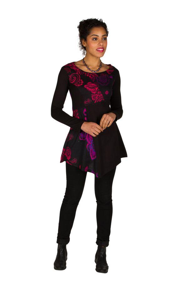 Tunique femme manches longues Noire originale et imprimée Awena 299749