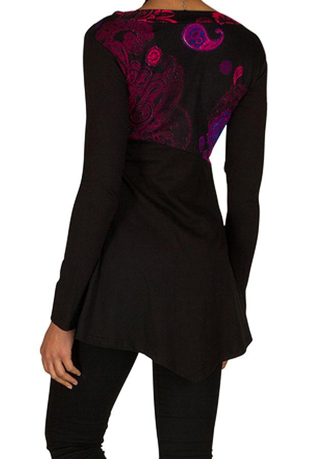 Tunique femme manches longues Noire originale et imprimée Awena 299750
