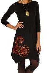 Tunique femme manches trois quarts Noire élégante et imprimée Davia 299716