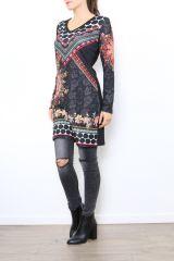 Tunique femme noire avec un imprimé coloré Meline 304459