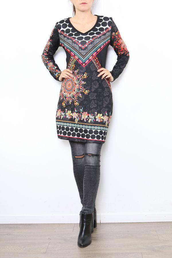 Tunique femme noire avec un imprimé coloré Meline 304460