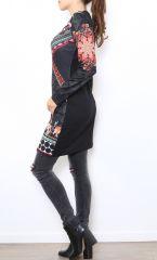 Tunique femme noire avec un imprimé coloré Meline 304461