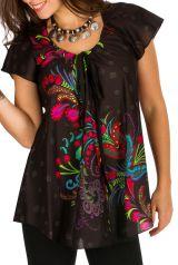 Tunique femme noire en coton pour l' été Alexia 292193
