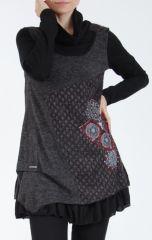 Tunique femme noire en maille tricotée idéale pour l'hiver Sorya 304843