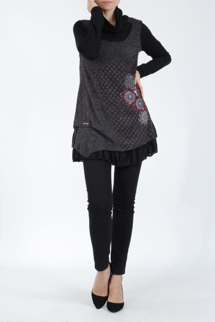 Tunique femme noire en maille tricotée idéale pour l'hiver Sorya 304844
