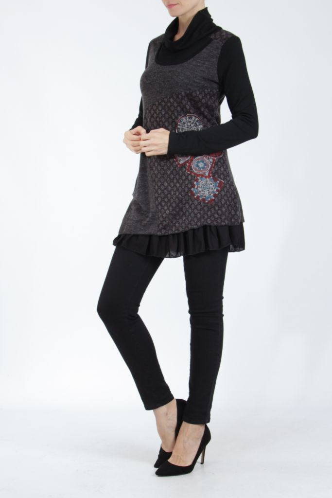 Tunique femme noire en maille tricotée idéale pour l'hiver Sorya 304845