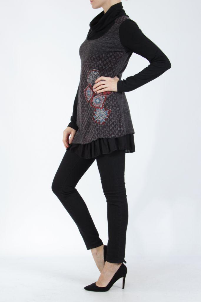 Tunique femme noire en maille tricotée idéale pour l'hiver Sorya 304846