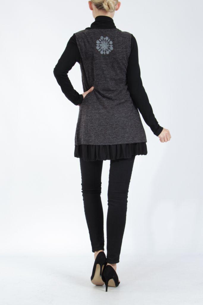 Tunique femme noire en maille tricotée idéale pour l'hiver Sorya 304847