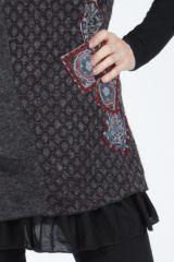 Tunique femme noire en maille tricotée idéale pour l'hiver Sorya 304848