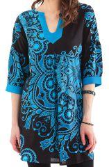 Tunique Femme Noire et Bleue Originale au col oriental Ikasta 281797