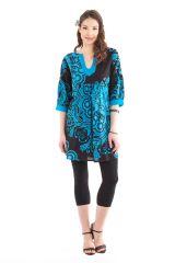 Tunique Femme Noire et Bleue Originale au col oriental Ikasta 281798