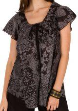 Tunique femme noire et grise en coton pour l' été Camilia 292243