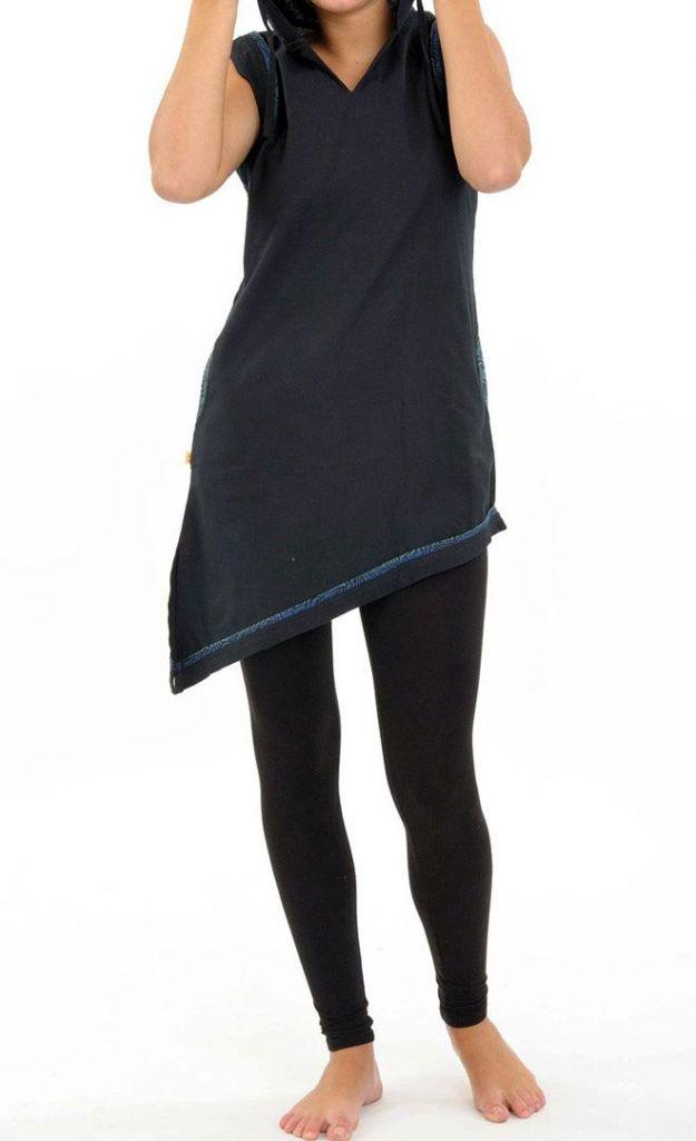 Tunique femme noire originale à capuche et sans manches Linola 305466