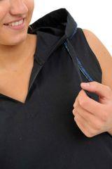 Tunique femme noire originale à capuche et sans manches Linola 305468