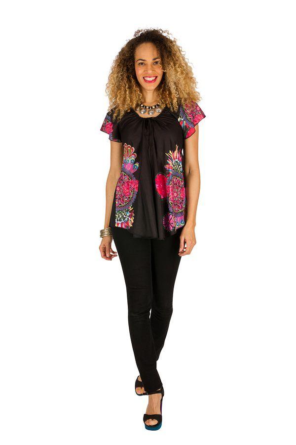 Tunique femme noire originale en coton pour l' été Jennyfer 289568
