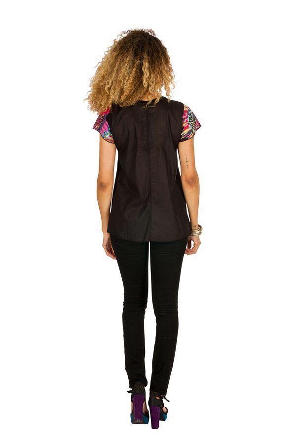 Tunique femme noire originale en coton pour l' été Jennyfer 289569
