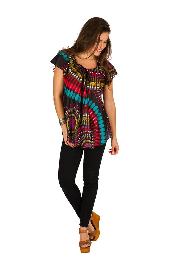 Tunique femme noire originale en coton pour l'été Miranda 289503