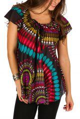 Tunique femme noire originale en coton pour l'été Miranda 292265
