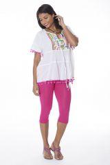 Tunique femme originale blanche manches courtes Anika 288124