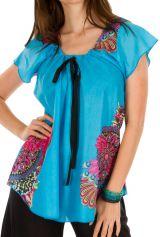 Tunique femme originale bleue en coton pour l' été Jennyfer 292201