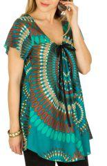 Tunique femme originale bleue en coton pour l'été Miranda 292263