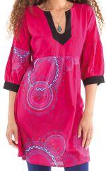 Tunique Femme Originale et Colorée au col oriental Ikasta Rose 281794