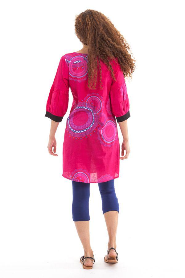 Tunique Femme Originale et Colorée au col oriental Ikasta Rose 281796