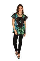 Tunique femme originale noire en coton pour l' été Camilia 289526