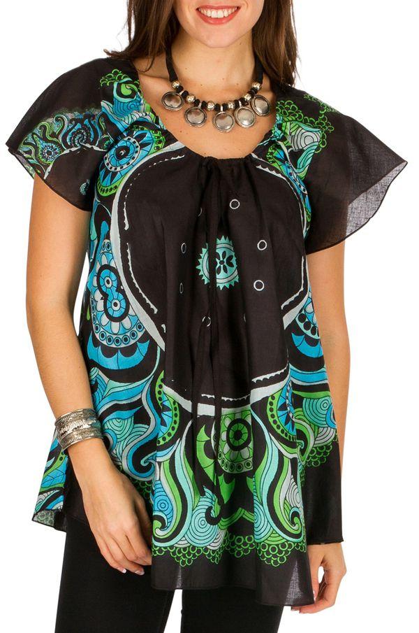 Tunique femme originale noire en coton pour l' été Camilia 292237