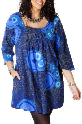 Tunique femme pulpeuse originale et ethnique elodie bleue - Femme pulpeuse image ...