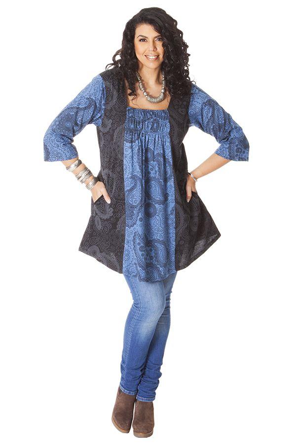 Tunique femme pulpeuse originale et ethnique elodie noire et bleue - Femme pulpeuse image ...