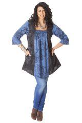 Tunique femme pulpeuse Originale et Ethnique Elodie Noire et Bleue 286539